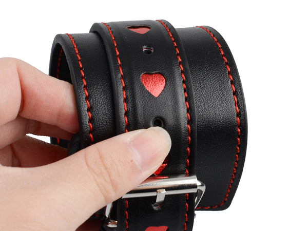 Toynary SM17 Heart-Patterned Leather Ankle Cuffs - Black