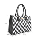 LYDC CONTRASTING GEOMETRIC PATTERNS TOTE BAG