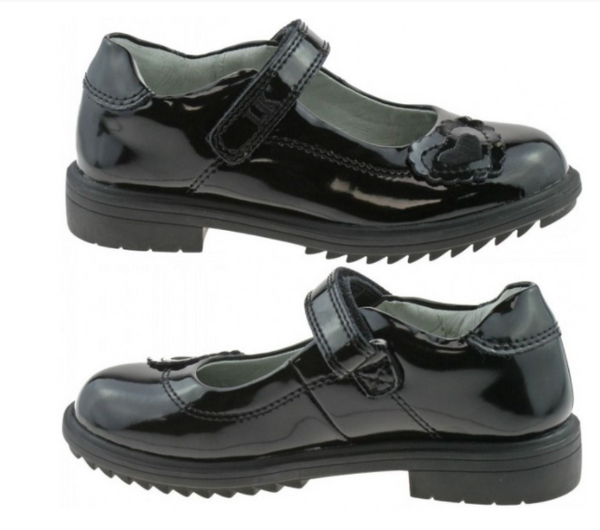 LK 8274 BLACK PATENT LEATHER SCHOOL SHOES F WIDTH