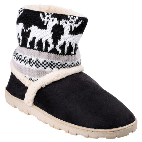 Divaz Black Denmark Pull on Bootie Slipper