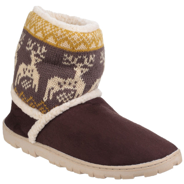 Divaz Brown Denmark Pull on Bootie Slipper
