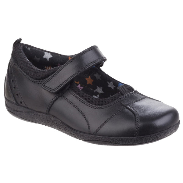 Hush Puppies Black Leather Cindy Senior Girls Back to School Shoe
