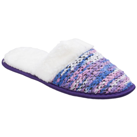 Divaz Purple Salzburg Knittted Mule Slipper