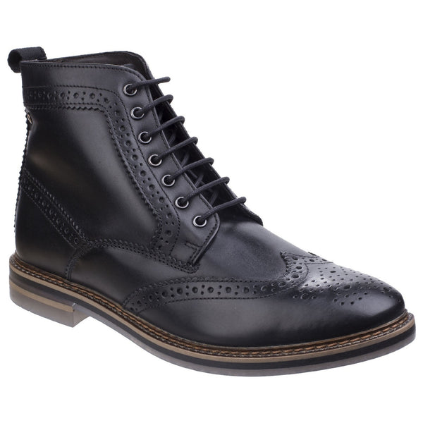 Base London Black Hurst Waxy Leather Mens Brogue Boot