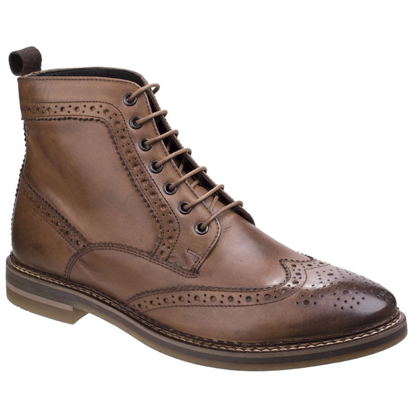Base London Tan Hurst Burnished Leather Mens Brogue Boot