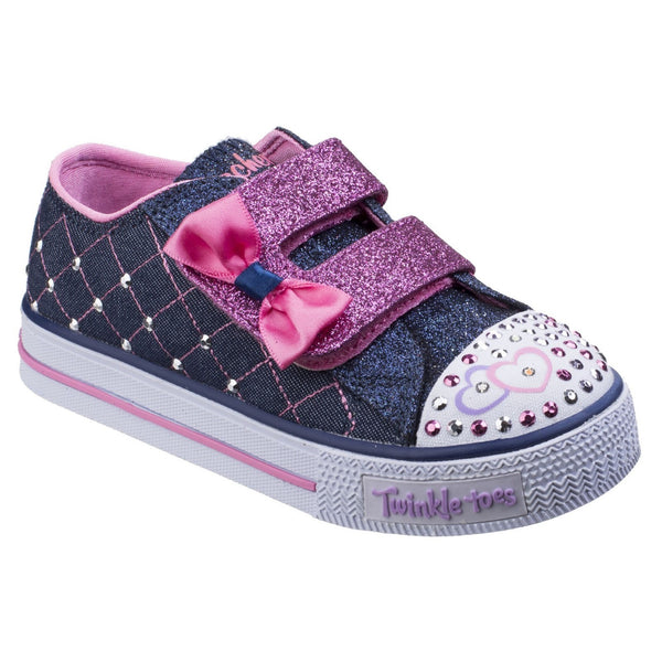 Skechers Denim/Pink Shuffles - Glitter Crush