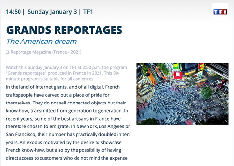 Screenshot of TF1 website featuring the American Dream