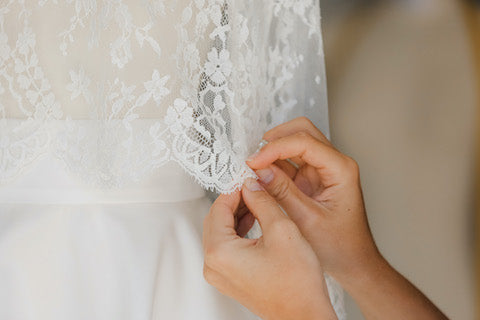 Orelie uses the finest fabrics, Lace from Calais France