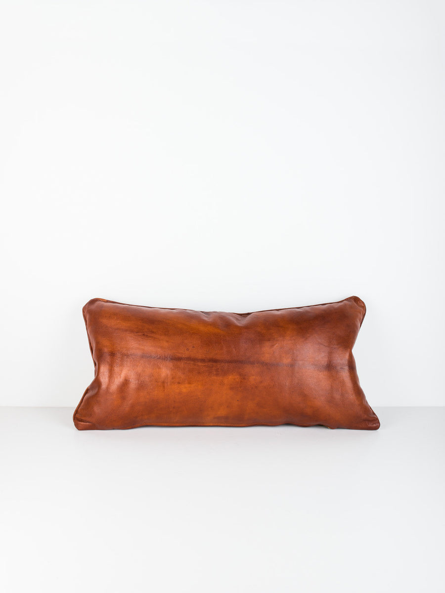 Leather Lumbar Pillow in Cognac