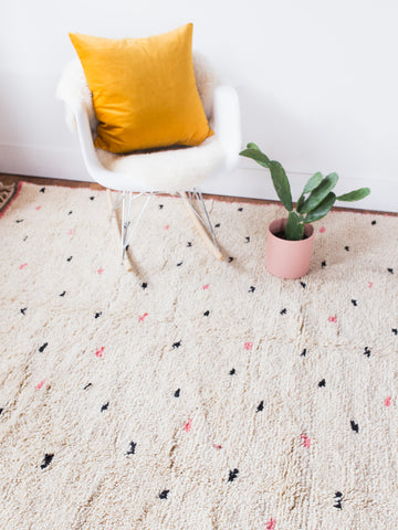nursery rug cream wool rug modern rug minimalist rug kids room decor kids rug small dots shag rug handwoven morrocon rug