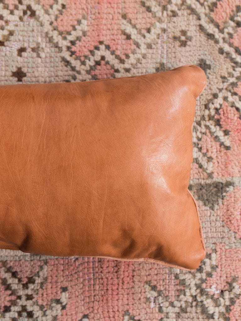 Leather Lumbar Pillow in Tobacco