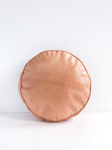 Round Leather Lumbar Pillow in Sand