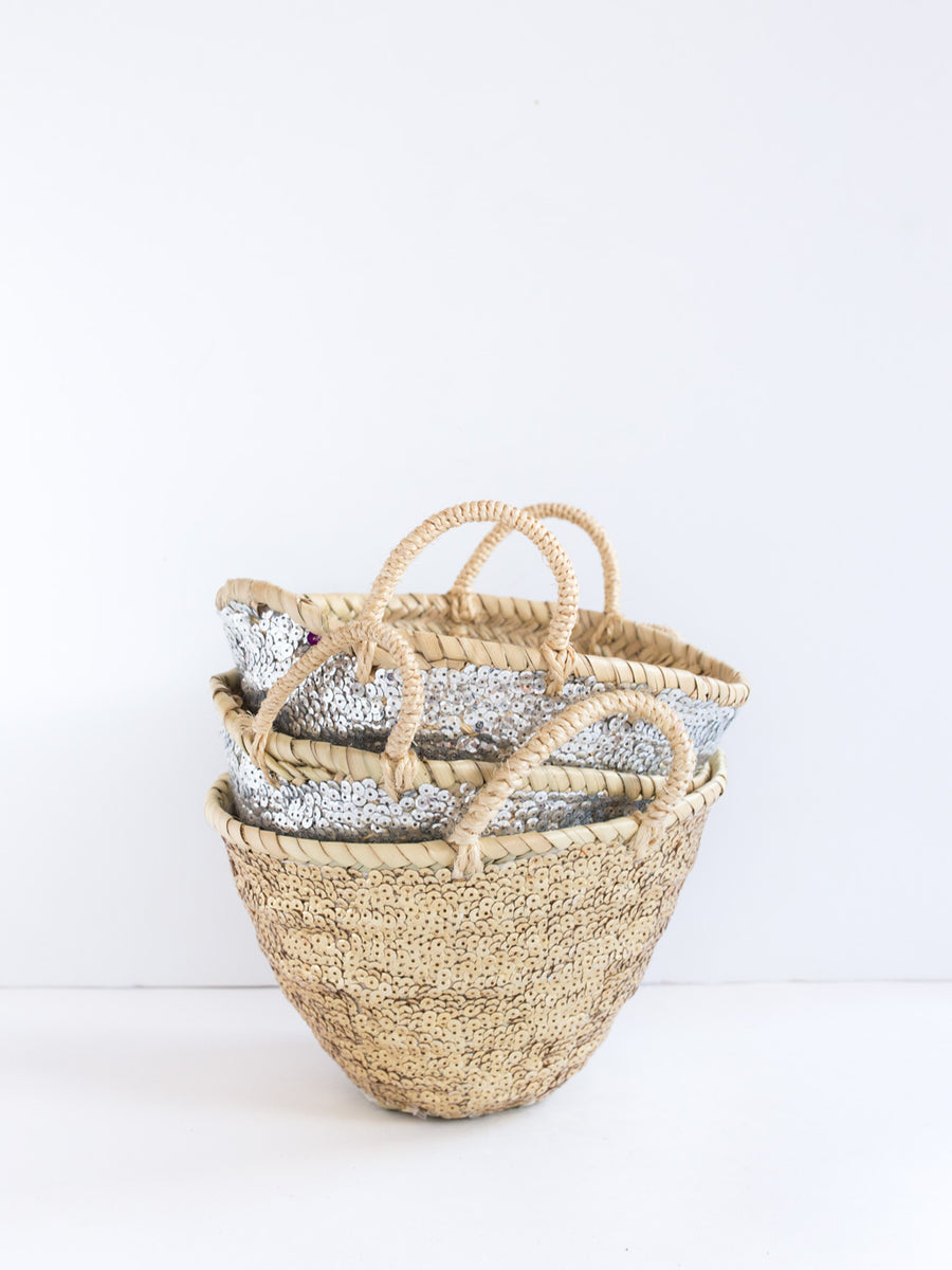 Mini Silver Sequin Basket