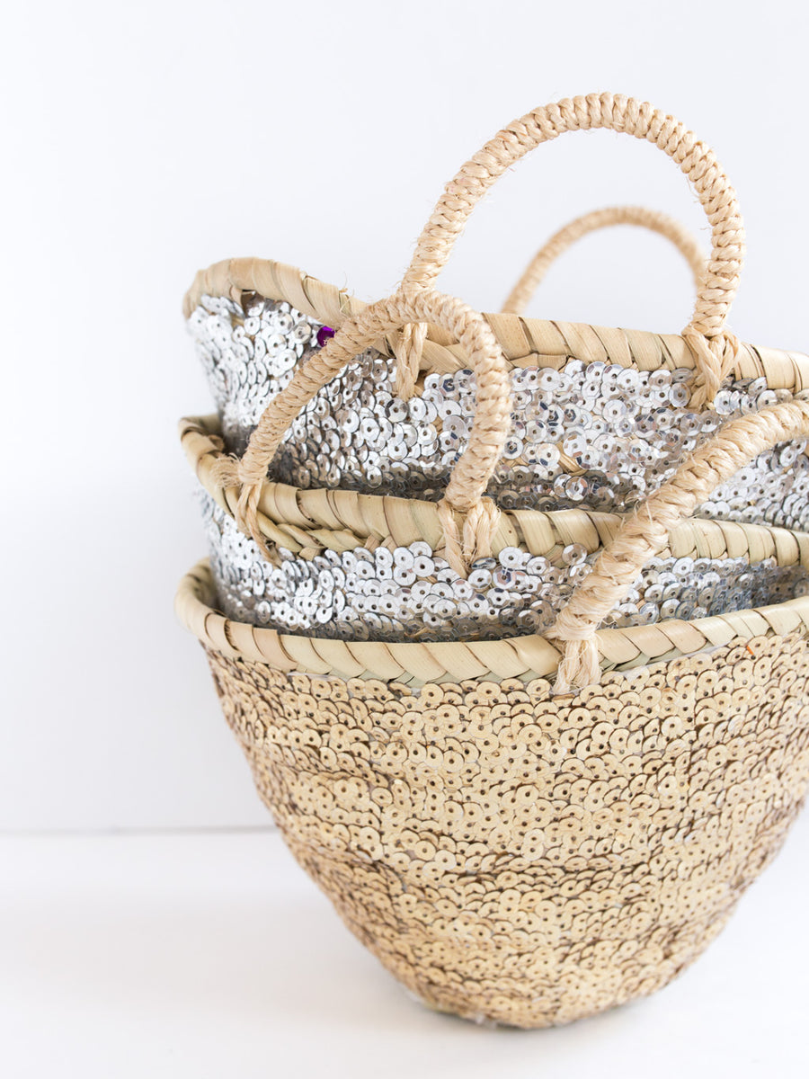 Mini Gold Sequin Basket