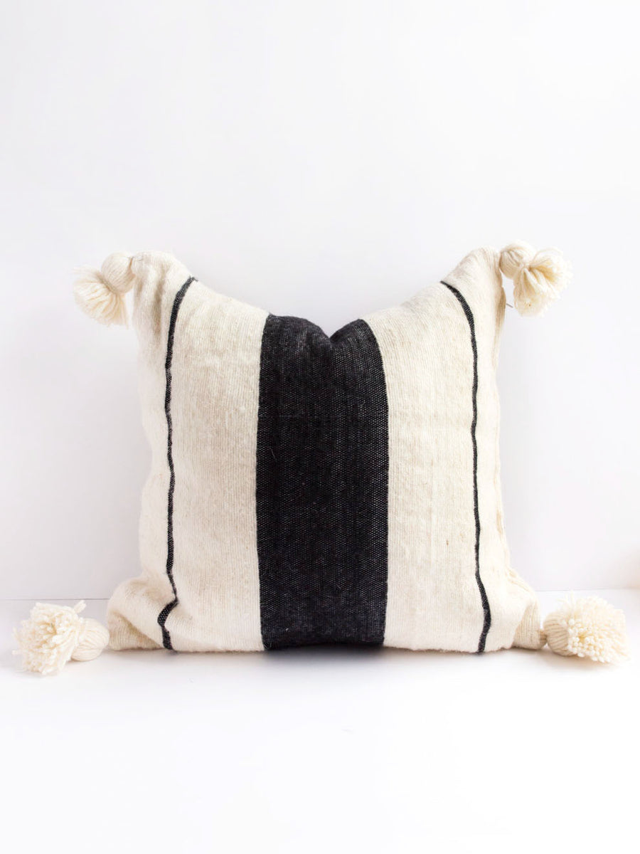 black and white wool pillow, boho pillow bohemian decoration boho interieur design cream pillow square pillow morrocon pillow handmade pillow
