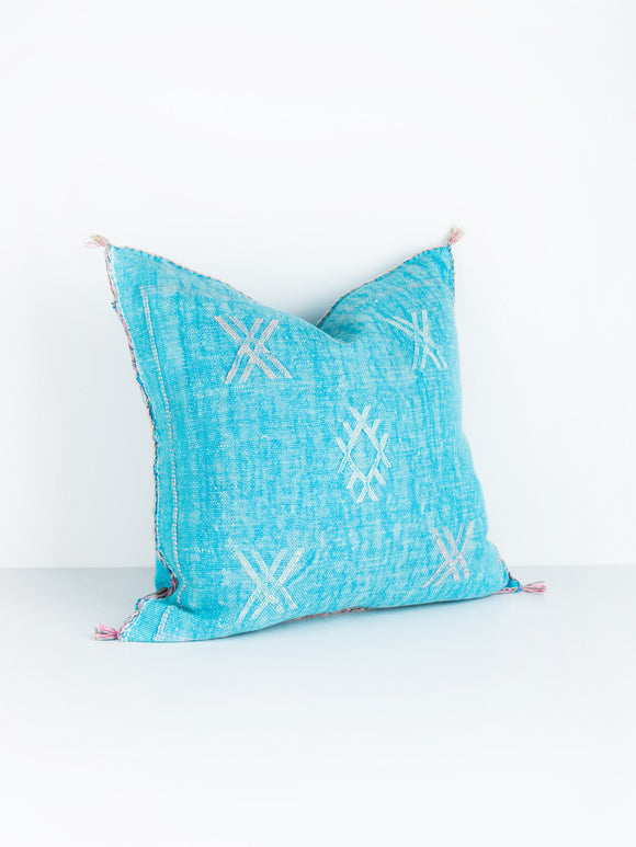 Turquoise Cactus Silk Pillow No. 2