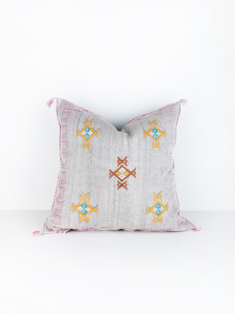 Silver Cactus Silk Pillow