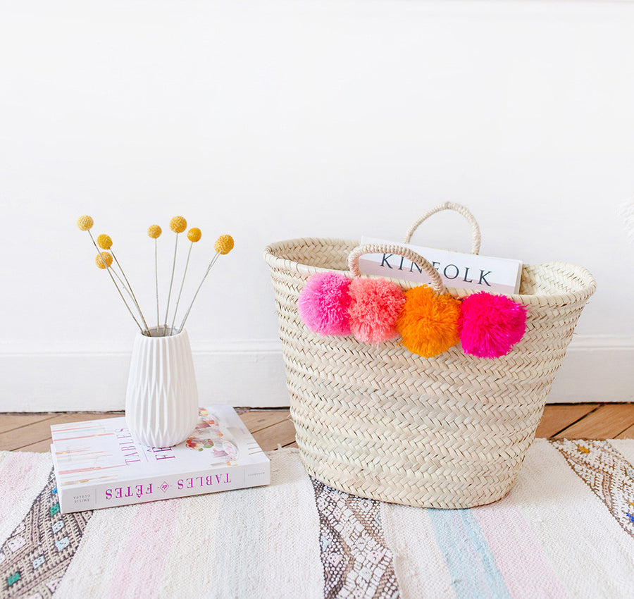 Colorful Pom Pom Straw Bag