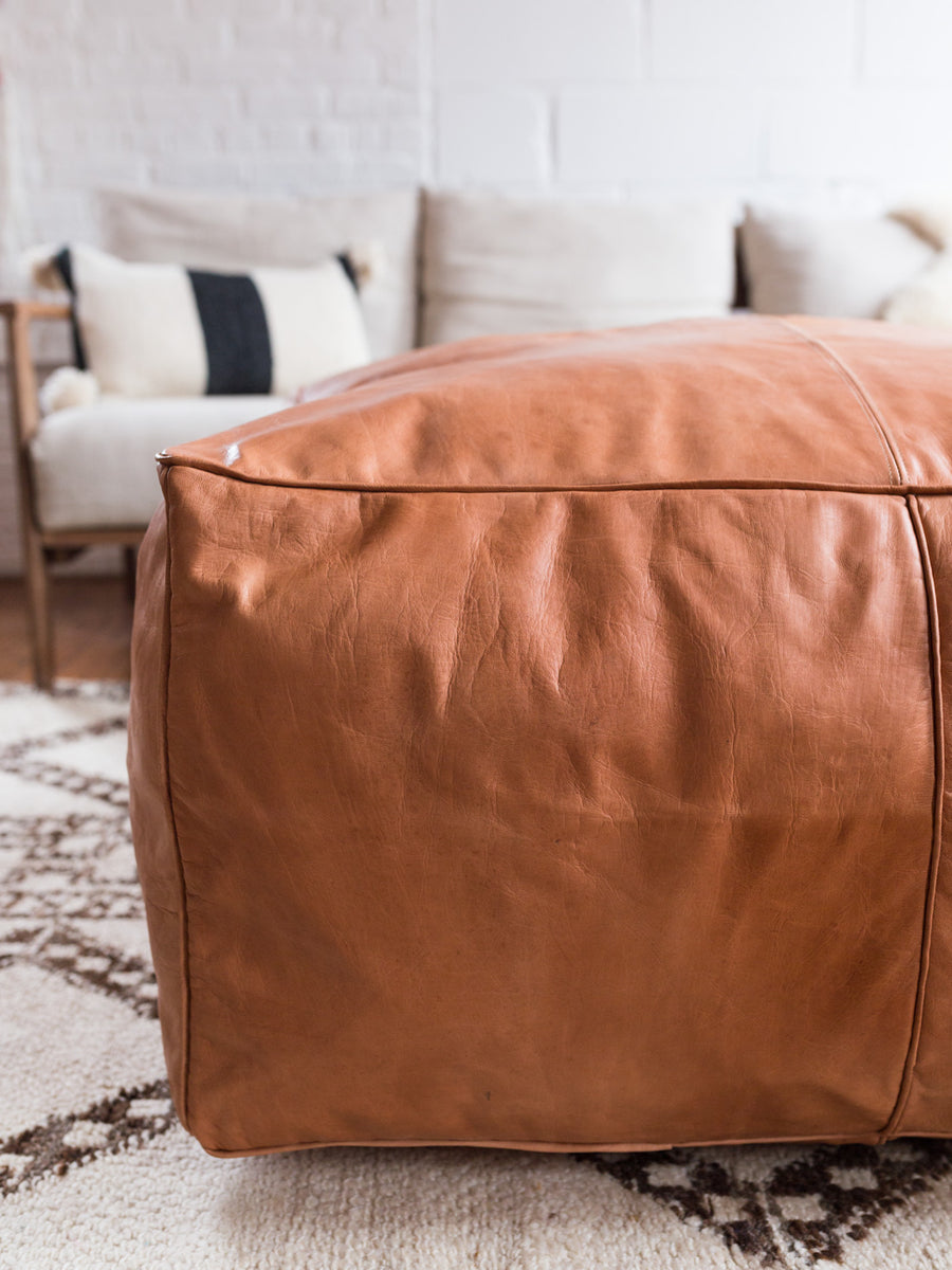Large Leather Ottoman in Tan