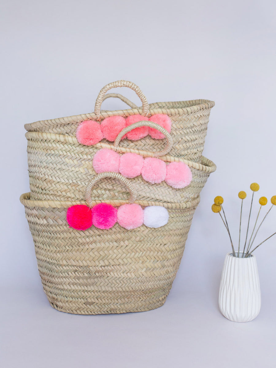 Pink and White Pom Pom Straw Bag