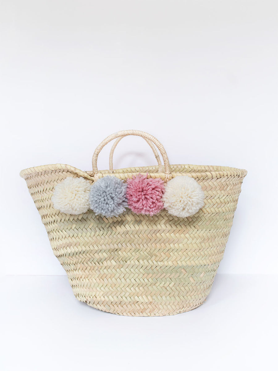 Pink and Grey Pom Pom Straw Bag