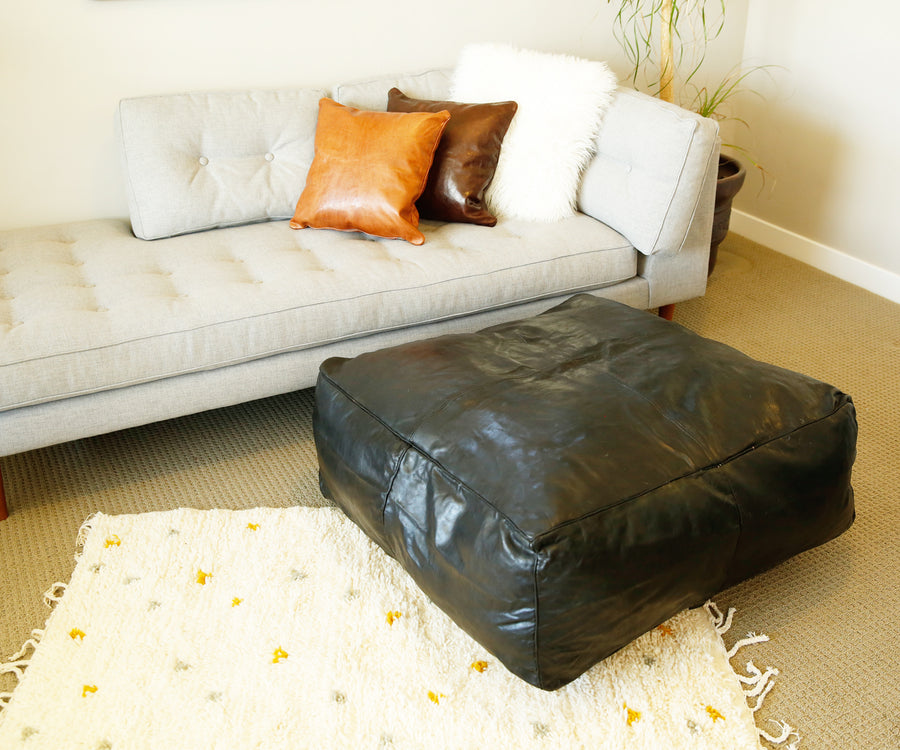Black Oversized Moroccan Leather Pouf