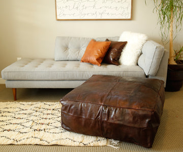 Oversized Dark Brown Moroccan Leather Pouf