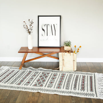 Oriental Black and White Kilim Rug