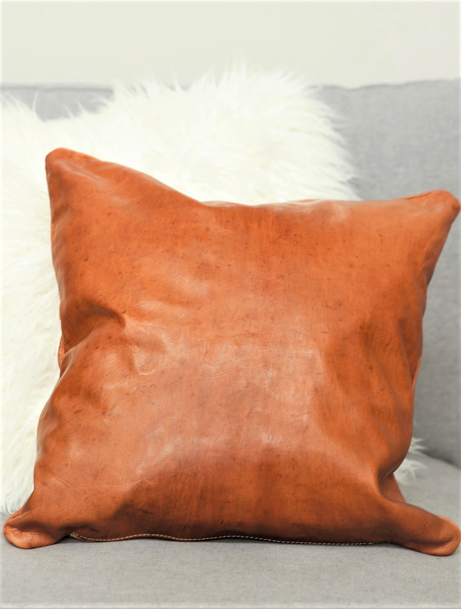Tobacco Leather Square Pillow