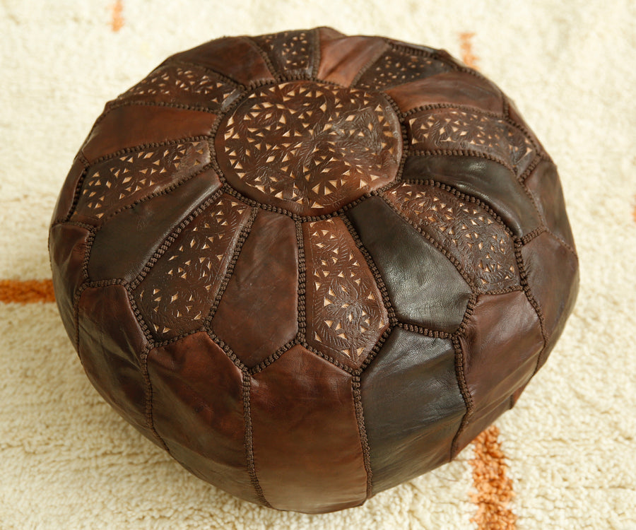 Dark Brown Round Footstool
