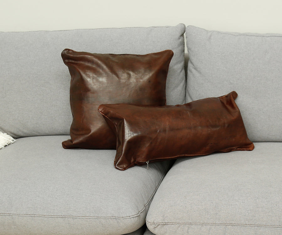 Dark Brown Leather Square Pillow