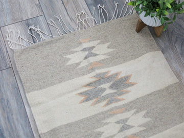 Grey and Peach Diamond Kilim Runner
