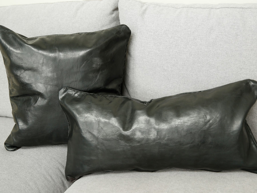 Leather Lumbar Pillow in Black
