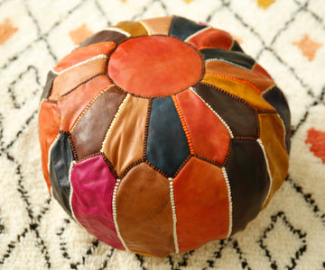 Multi-coloured Round Footstool