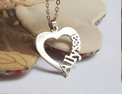 Name Heart Necklace Silver - Customized - Patzam