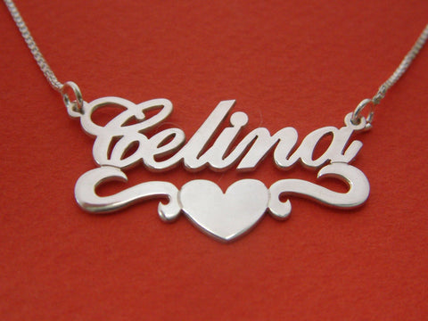 Wave Heart Name Necklace Silver - Customized - Patzam