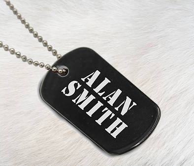 Black Dog Tag - Custom Name - Patzam