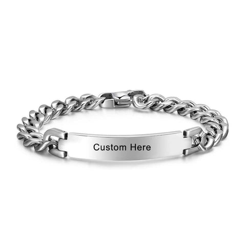 Men's Bracelet Stainless Silver - Custom Name - Patzam