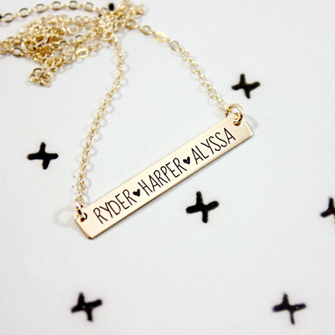 Bar Necklace Golden - Customized - Patzam