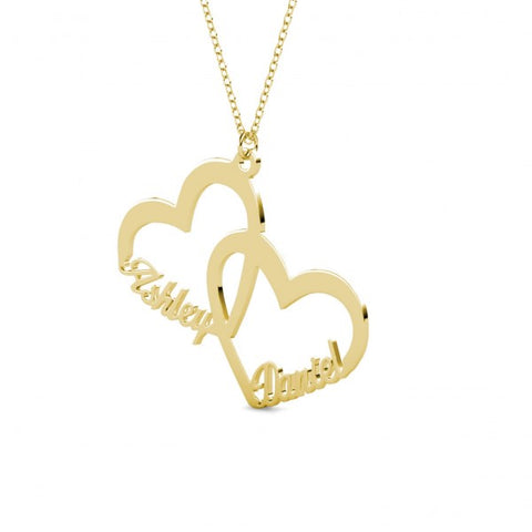 Twin Heart Name Necklace Golden - Customized - Patzam