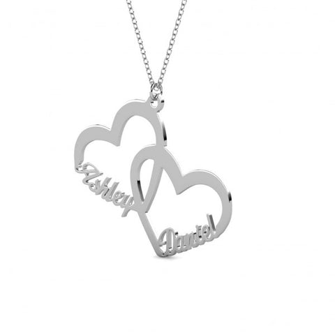 Twin Heart Name Necklace Silver - Customized - Patzam