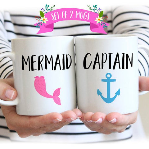 Mermaid-Captain Couple Mugs - Patzam