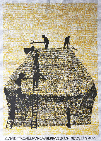 Tea towel: Black haystack on yellow grass -  White