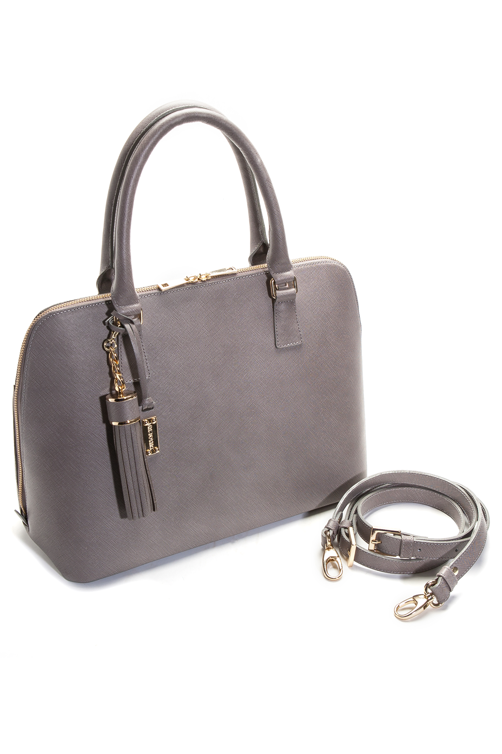 Mel Boteri Grey Saffiano Leather 'Watson' Tote | Side View