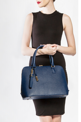 Mel Boteri | Blue Saffiano Leather 'Watson' Tote | Model