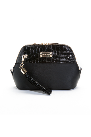 Mel Boteri 'Watson Mini' Cross-Body & Clutch Black Leather Bag | Front View