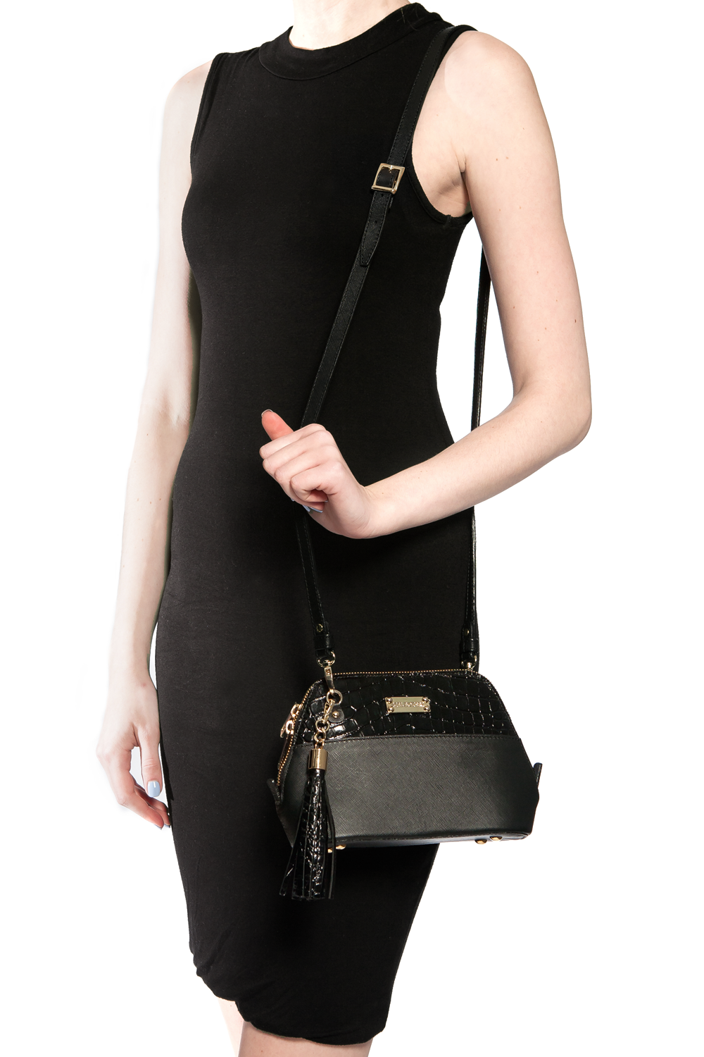 Mel Boteri 'Watson Mini' Cross-Body & Clutch Black Leather Bag | Model View