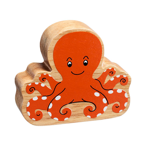 NEW Natural Wooden Orange Octopus