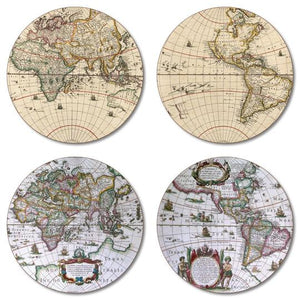 Antique Maps Coaster Set of 4<br>(Pack of 4)