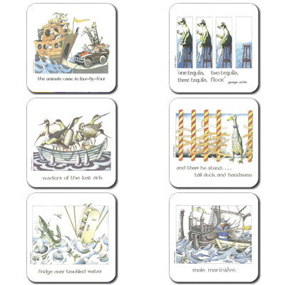 4x4, Tequila, Waders, Tall Duck, Fridge, Mole - Coaster set of 6<br>(Pack of 4)